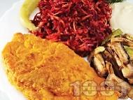 Рецепта Хрупкава панирана пържена бяла риба мерлуза в галета и царевично брашно